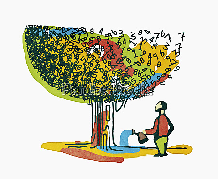 men watering tree of numbers