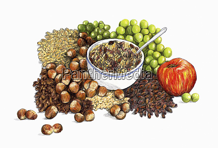 range of healthy fruit nuts and