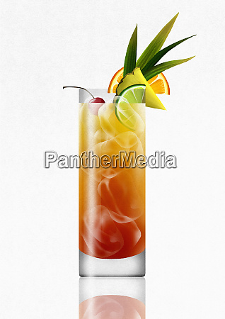 tropical rum punch cocktail drink