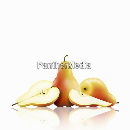 whole and cut pears
