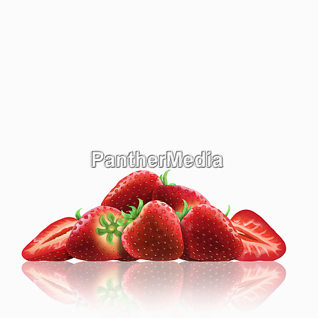 whole and cut fresh strawberries