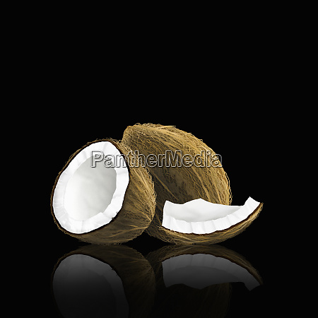whole coconut with pieces
