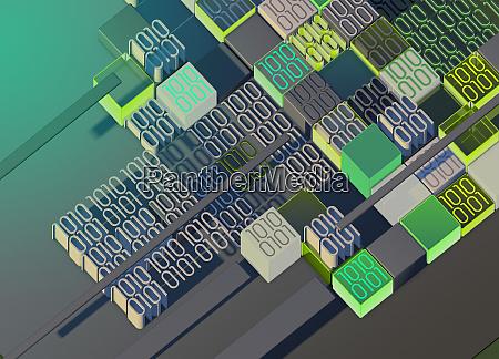 irregular pattern of blocks of binary