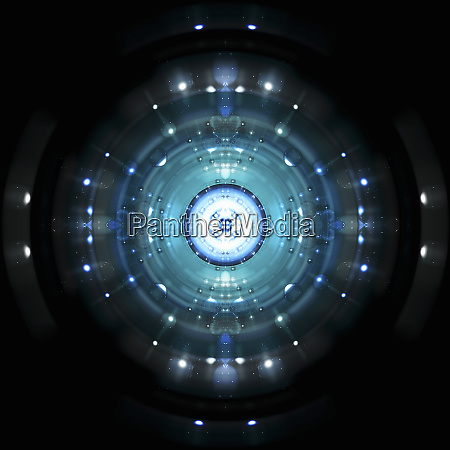 blue spheres and concentric circles exploding