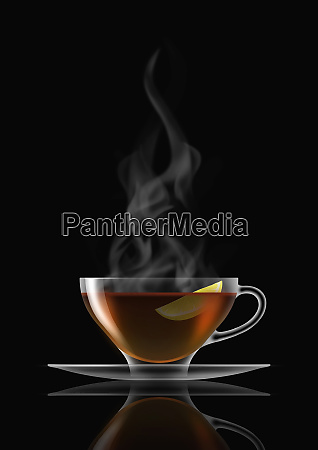 lemon tea in glass teacup and