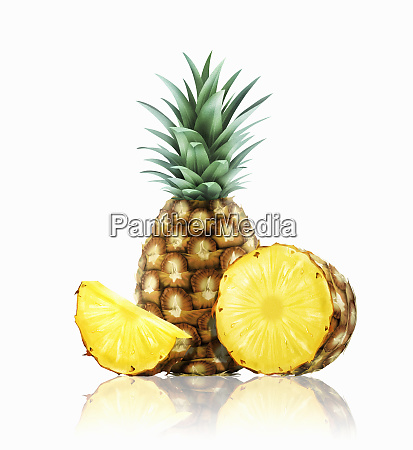 fresh pineapples whole half and slice