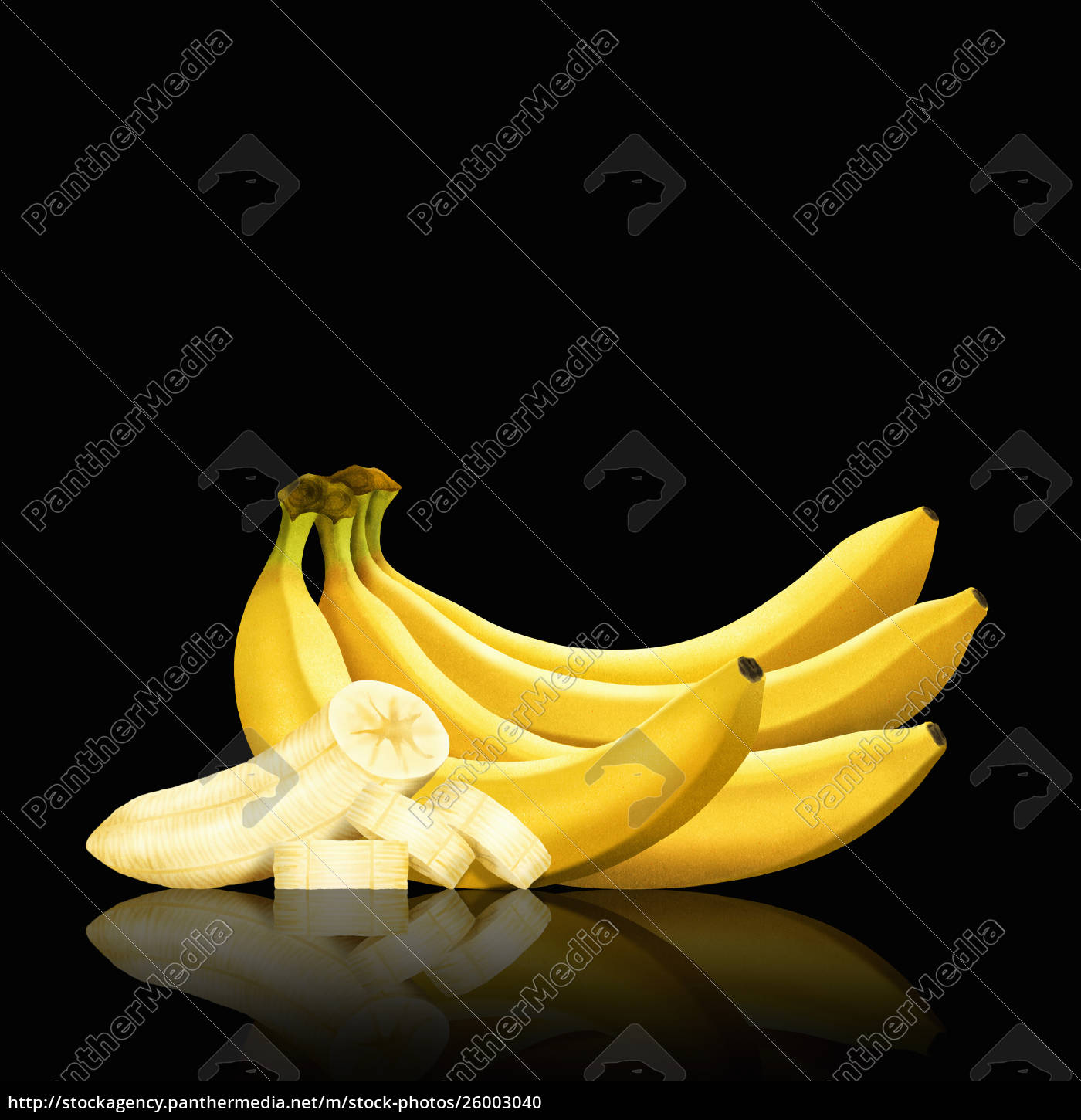 bunch, of, bananas, and, slices, of - 26003040