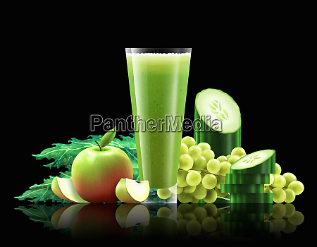 glass, of, apple, , kale, , cucumber, and - 26003028