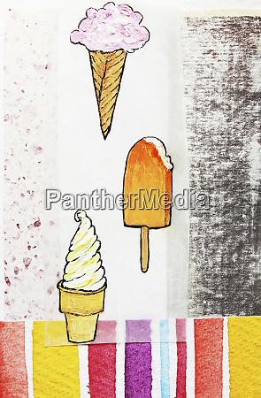 ice cream cones and ice lolly