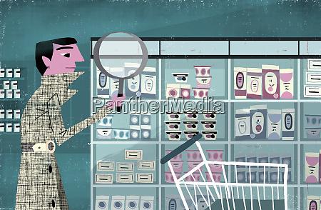 detective examining products on supermarket shelf
