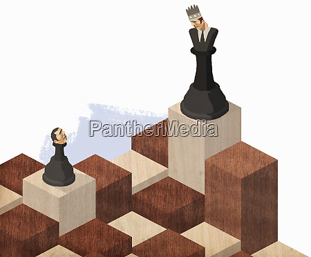 chess pieces with businessman heads