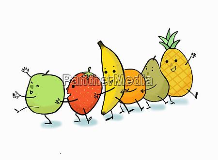 happy fruit dancing the conga