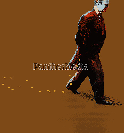 businessman walking dropping coins from pocket