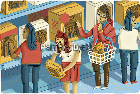 students choosing university colleges from shelf