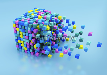 small multicolored blocks assembling in large