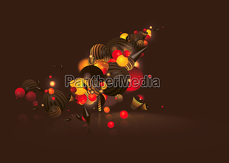 illuminated colorful striped balls and shapes