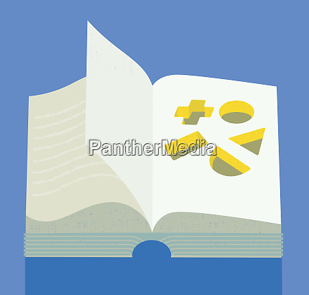 geometric shapes cut out of book