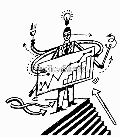 businessman at top of steps holding