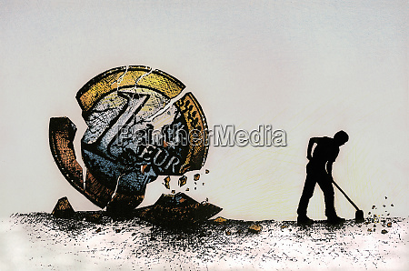 man brushing broken pieces of euro
