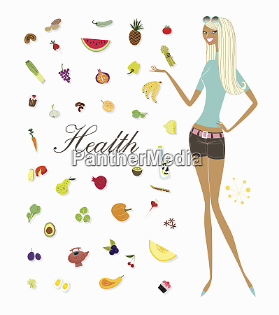 woman standing with foods and the