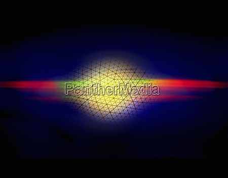 multicolored light beams connected to abstract