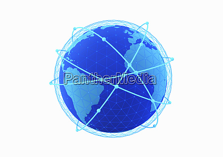 blue lines circling globe with network