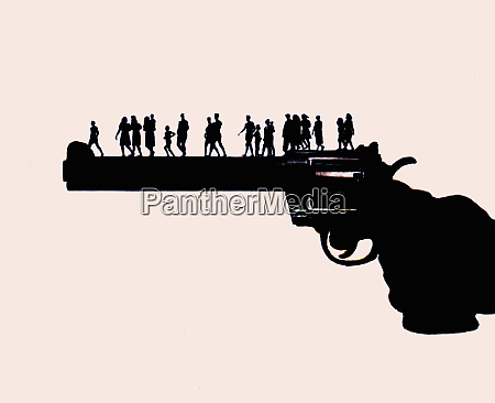 large hand holding gun with people