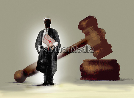 barrister holding legal documents in front