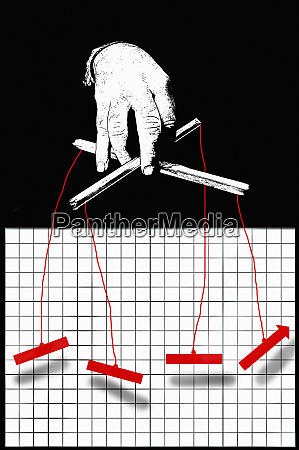 businessman puppeteer manipulating graph