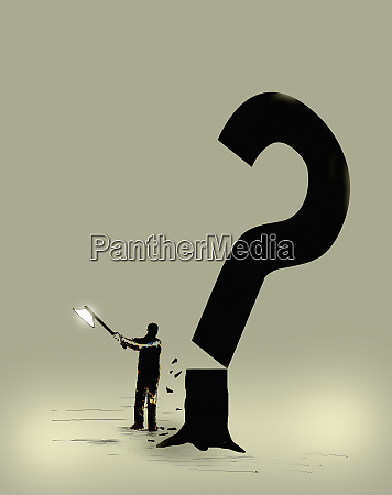 man chopping down question mark tree