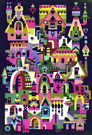 abstract bright color fantasy town neighborhood