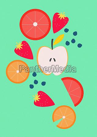 variety of slices of fresh fruit