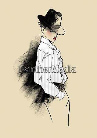 portrait of elegant woman in fedora
