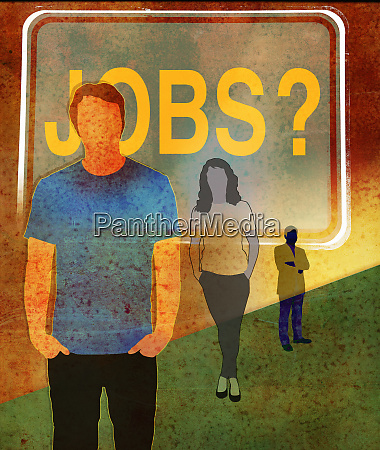 unemployed workers waiting for jobs