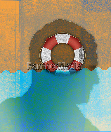 life ring inside of silhouette of