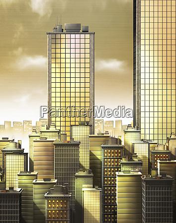 golden skyscraper office buildings in city