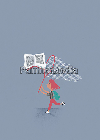 young girl chasing flying book with