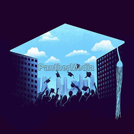 graduates throwing mortarboards into blue sky