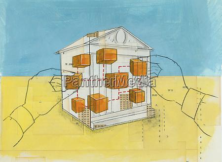 hands moving building blocks inside of