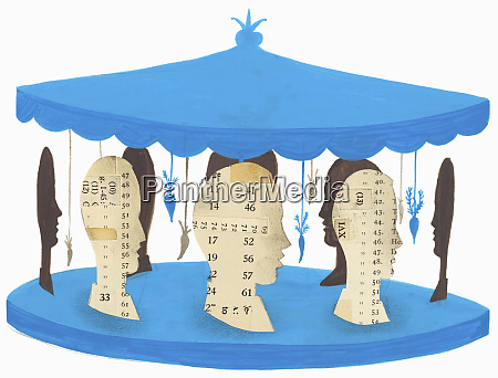 businessmen on carousel with carrots dangling
