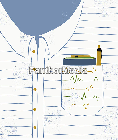 pulse trace over breast pocket containing