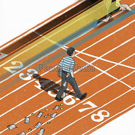contrasting fast runner with slow walking