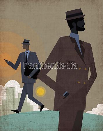 cool city businessmen on globe