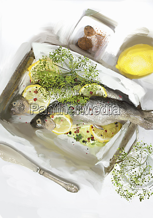 trout in baking parchment with lemons