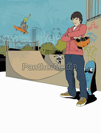 teenage boys skateboarding in skateboard park