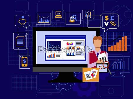 businessman analyzing global financial data using