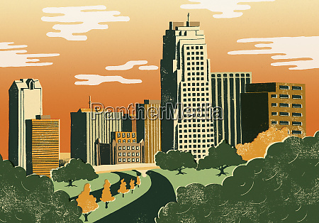 illustration of cityscape of raleigh north