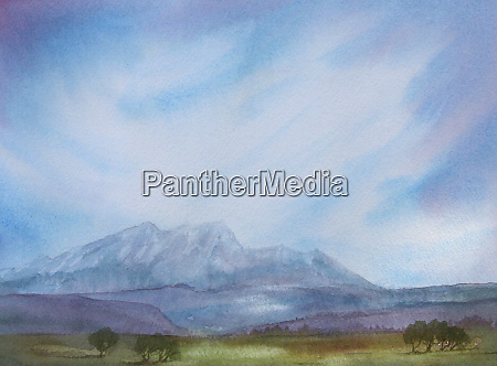 watercolour painting of mountains and blue