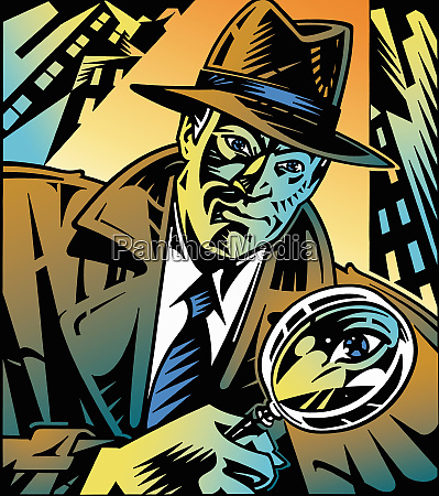 retro detective looking through magnifying glass