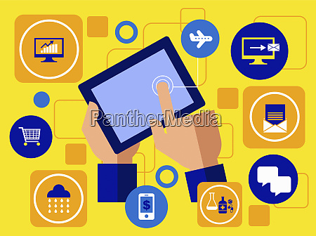 hand using digital tablet computer for